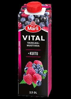 Marli Vital Vadelma-mustikkajuoma + kuitua 2,5 dl